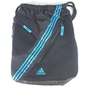 Adidas Black & Blue Cinch Sack Drawstring Book Bag